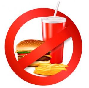 Fast food danger label. Vector illustration.